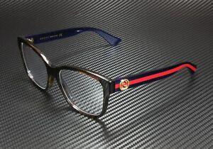 GUCCI GG0038O 003 Rectangular Square Havana Demo Lens 54 mm Women's Eyeglasses