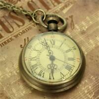 Classic Antique Retro Bronze Glass Steampunk Watch Necklace Pendant Watch +Chain