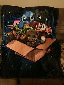 Disney Stitch Baby Yoda Gizmo Blanket,  New
