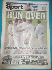 INDIA BEATS AUSTRALIA CRICKET AUSTRALIAN NEWSPAPER 3/16 2001 GREATEST TEST EVER