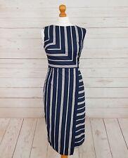 Phase Eight Womens Blue Round Neck Striped Asymmetric Hem Sheath Dress Size 10