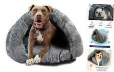 Birdsong The Original Cuddle Pouch Pet Bed, Dog Cave, Covered Hooded Large Grey
