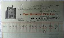 1914 ILLUSTRATED BILLHEAD THE REVIEW PUBLISHING CO ALLIANCE OHIO #zu8