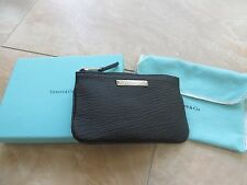 New Tiffany & Co. Black Grain Leather Small Flat Pouch. Gift ready!