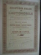TRES RARE ACTION AUTOMOBILE BELGIQUE COMPTOIR BELGE AUTOMOBILE  1927