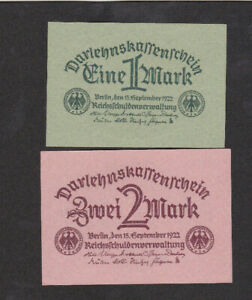 1&2  MARK AUNC-UNC BANKNOTES FROM GERMANY 1922 PICK-61&62