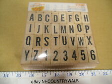 American Crafts Amy Tangerine 40 Piece Wooden Alphabet & Number Stamp Set - NEW