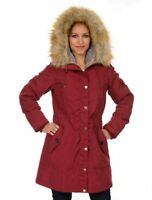 1 Madison Expedition Women's Faux Fur Hooded Parka Jacket Red Size M