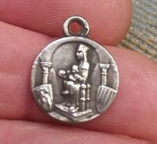 ANTIQUE SPANISH OUR LADY OF MONTESERRAT STERLING 800 SILVER MEDAL