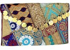 US SELLER Multicolor Patchwork Embroidered Handbag Clutch Handmade India w/Strap