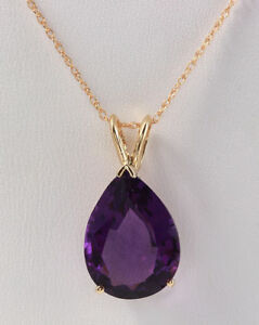 10.05 Carat Natural Purple Amethyst in 14K Solid Yellow Gold Pendant