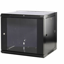"""9u 19"""" 600mm Deep Black Wall Mounted Data Cabinet Patch Panel Comms Network"""