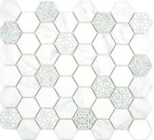 GLAS Mosaik Hexagon Sechseck ECO carrara Wand Boden Küche Bad|16-0222 10Matten