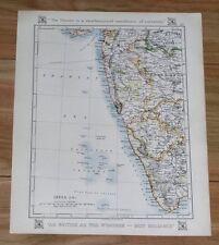 1921 ORIGINAL VINTAGE MAP OF BRITISH INDIA MUMBAI BOMBAY GOA MADRAS MAHARASHTRA