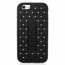 Patterned Rigid Plastic Mobile Phone Fitted Cases with Kickstand