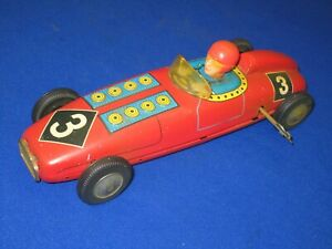 A Vintage #3 Tin Wind Up Open Race Car Very Good Condition!