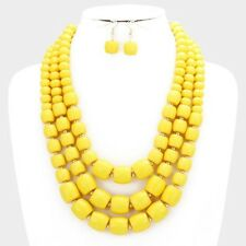 Three Layers Yellow Faceted Lucite Bead Gradual Necklace Earring Set