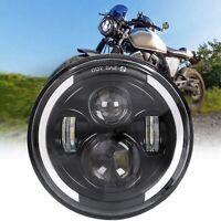 7''  Rond  Blanc /Ambre LED Phares   Moto  Conduite Lumière Ajustable Luminosité