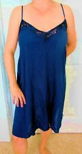 DREAMY!!! RUE+ SEXY BLUE SILKY SOFT WITH LACE PLUS SIZE CHEMISE NIGHTGOWN 1X NWT