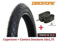 "Copertone Deestone 16x1 75 D-818 Nero stradale Camera per bici 16"" Bimbo/bimba"
