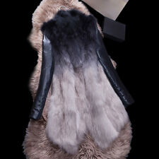 16142 Real Fox Fur Coat with Sheep Leather Sleeve Women Winter Jacket Outwear