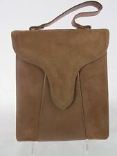 Vintage Brown Suede Leather Baguette Handbag Magnetic Closure