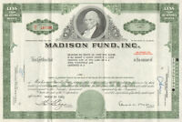 Madison Fund, Inc. > 1960s Delaware old stock certificate share