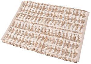 2X3. Mat Handmade Rug Utility Small Runner Beige Carpet Wool & Jute Rug New Mat