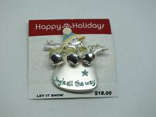 Beautiful Brooch Pin Snowman Matte Silver Tone Jingle Bells Enamel Original Card