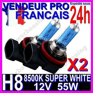 KIT DE 2 AMPOULE H8 55W LAMPE HALOGENE FEU PHARE XENON GAZ SUPER WHITE 8500K 12V