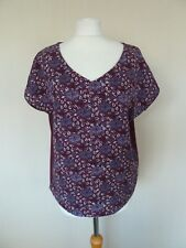 FAB White Stuff Mulberry Purple Red Floral Print Linen Blend Top Size 10 VGC