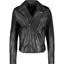 DIESEL Super Soft Leather Biker Jacket XL Black Gold Style Sheepskin Leather