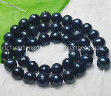 "NATURAL 9-10MM Black Tahitian Cultured pearls Loose Beads 15"" Strand"