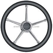 BOAT STEERING WHEEL BLACK & STAINLESS STEEL 350 Teleflex Morse Ultraflex STEERBK