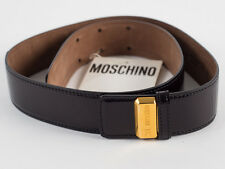 New Moschino Redwall Black Patent leather Belt Size EU 44