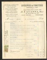"""PARIS PASSY (XVI°) TOLERIE CHAUDRONNERIE / FUMISTERIE """"J. CAVANNA"""" en 1925"""