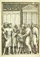 Un sacrifice païen Bas relief du Capitole Rome du graveur François Perrier 1645