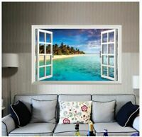 Wall Sticker 3D Window Mediterranean Beach Living Room Bedroom Decal Lobby Mural