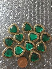 Lot Of 12 Emerald Green Greek Key Design Heart Shaped Buttons
