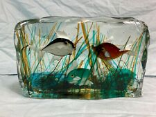 Vintage mid-century modern Murano glass fish aquarium paperweight