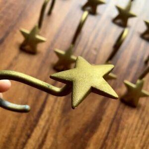 Shower Curtains Hooks Gold Metal Stars Sturdy Set of 10 EUC