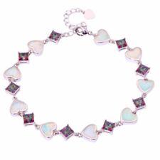 "White Fire Opal Rainbow Topaz Silver for Women Jewelry Chain Bracelet 9"" OS382"