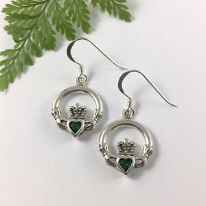 Large Irish Claddagh Solid Sterling Silver 925 Earrings with Emerald Green Heart