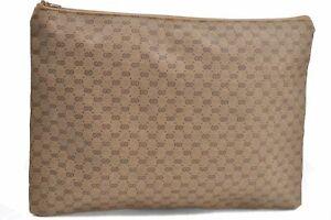 Authentic GUCCI Micro GG PVC Clutch Bag Brown E2424