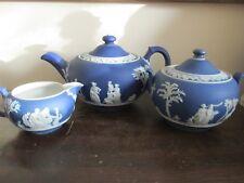 Antique Wedgwood Jasperware Dark Cobalt Blue Tea Set Pot Creamer And Sugar Bowl