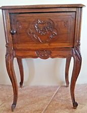 french antique louis xv walnut nightstand bedside carved accent table circa