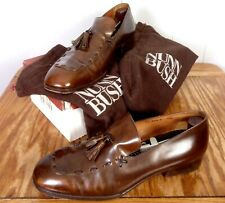 vtg Nunn Bush Brown Leather Tassel Loafers Dress Shoes made in Italy 10.5 D