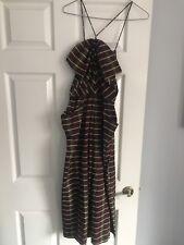 70s Striped Halter Neck Dress-Size 10