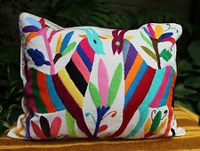 #5 Otomi Pillow Multi-Color Hand Embroidered Mexican Folk Art Decorator Favorite