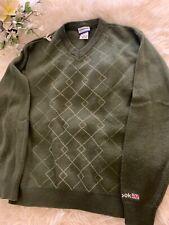 Reeboks Classic Green V-Neck Sweater Size Small